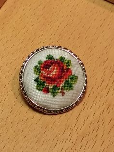 Hungarian Gobelin Hand Embroidered Brooch by HungarianHeirlooms