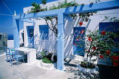 Dwelling and Patio Oia, Santorini, Greece - Masterfile - Rights-Managed, Artist: Alberto Biscaro, Code: Garden Theme, Garden Pool, Summer Garden, Terrace Garden, Garden Planters, Porches, Oia Santorini Greece, Blue Fence, Greek Garden