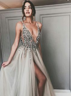 Long Backless Grey Sexy Dresses with Slit Rhinestone See Through Prom Dress Prom Dress Sexy, Prom Dress, Grey Prom Dress, Prom Dress Backless Prom Dresses 2019 Split Prom Dresses, Grey Prom Dress, Beaded Prom Dress, Backless Prom Dresses, A Line Prom Dresses, Sexy Dresses, Long Dress Formal, Silver Prom Dresses, Sexy Long Dress
