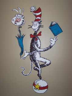 Handpainted HUGE XL Cat In The Hat by AllMuralsHandPainted on Etsy, $76.99