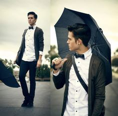 Love the mixing of formal and informal. I'd totally do the bowtie, dress shirt, and jeans.  With the cardigan of course