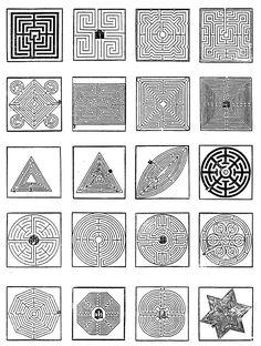 Designs of labyrinth-gardens | Fig. 343 - Designs of labyrinth-gardens in the seventeenth century in D. Loris' book 'Le Thresor Des Parterres De L'Univers' (Geneva, 1629). Loris worked as a court physician in Montbeliard (France). KERN,  Hermann (1982).  Labyrinthe:  Erscheinungsformen und  Deutungen; 5000 Jahre Gegenwart eines Urbilds. Prestel-Verlag. ISBN 3-7913-0614-6 --- Fig. 343 - Some designs of labyrinth-gardens in the seventeenth century as given ...