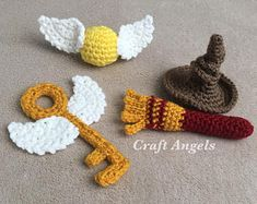 Harry Potter Crochet Golden Snitch, flying key, Harry Potter broom, Harry Potter sorting hat, Harry Potter gifts, Harry Potter, ornaments