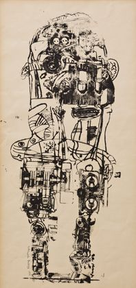 Eduardo Paolozzi, Standing Figure, 1958-62, Screenprint on paper|Pallant House Gallery (Wilson Loan, 2006) © Trustees of the Paolozzi Foundation