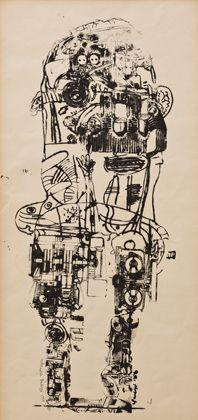 Eduardo Paolozzi, Standing Figure, 1958-62, Screenprint on paper|Pallant House Gallery (Wilson Loan, 2006) © Trustees of the Paolozzi Foundation