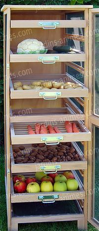 Vegetable buffet: an concept to do it your self? Kitchen Pantry, Kitchen Hacks, Kitchen Decor, Kitchen Design, Kitchen Organization, Kitchen Storage, Woodworking Plans, Woodworking Projects, Vegetable Storage