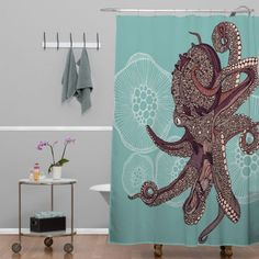 DENY Designs Valentina Ramos Octopus Bloom Shower Curtain, 69 by 72-Inch