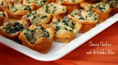 Cheesy Chicken & Artichoke Bites - from the Pillsbury Bake Off Great party food! Artichoke Chicken, Artichoke Recipes, Bake Off Recipes, Cooking Recipes, Super Bowl Menu, Crescent Recipes, Cocktail Party Food, Tailgate Food, Spinach Stuffed Chicken
