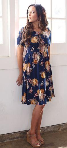 Natalie Dress (Navy Floral)