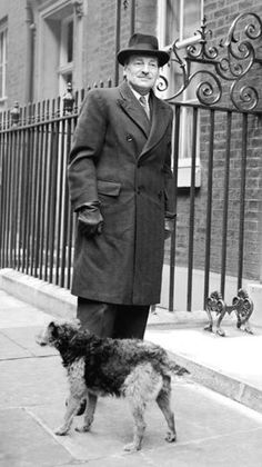 Post-war Prime Minister Clement Attlee and his Airedale Ting. c. 1950