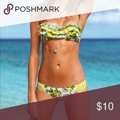 Victoria Secret bikini set Tiered yellow floral ruffled bandeau top (34A) and ruched bottom🌺Mark on the inside(please view second pic) Victoria's Secret Swim Bikinis
