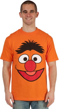 This Sesame Street shirt features Ernie's Face. Show you are a fan of Ernie or become Ernie!