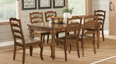 Twin Lakes Brown 5 Pc 72 in. Rectangle Dining Room Set includes Ladder Back Side & Leg Dining Table. Find affordable Dining Room Sets for your home that will complement the rest of your furniture. Dining Room Suites, Dining Room Bar, Dining Table Legs, Table And Chair Sets, Dining Room Design, Kitchen Tables, Dining Sets, Kitchen Ideas, Kitchen Cabinets