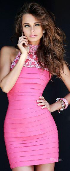 Beautiful Women in a Beautiful Pink Dress!!