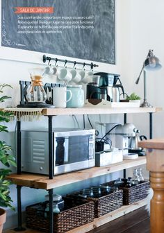 This Is the DIY Every Small Kitchen Needs - Microwaves - Ideas of Microwaves - DIY Coffee Bar Station Small Space Kitchen, Kitchen On A Budget, New Kitchen, Small Kitchen Ideas Diy, Country Kitchen, Kitchen Pantry, Kitchen Corner, Small Kitchen Solutions, Rental Kitchen