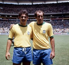 1970 World Cup Final, Mexico City, Mexico, 21st June, 1970, Brazil 4 v Italy 1, Brazil's Rivelino  and Gérson