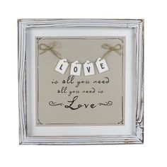 Featuring a heartwarming and recognisable 'love is all you need' quote, this hanging plaque is a beautiful way to reminisce about the people who truly matter to you Need Quotes, Sign Quotes, Framed Wall Art, Wall Art Prints, Poster Prints, Novelty Signs, Wooden Signs With Sayings, Hanging Pictures, Wooden Diy