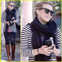 Fall Outfit: B/Black and White Striped Shirt/Tunic + Dark Wash/Black Skinnies + Knee High Brown Boots + Black Scarf