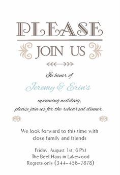 Free Printable Rehearsal Dinner Invitation Templates | Greetings ...
