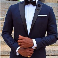 Midnight blue tuxedo with narrow peak lapel