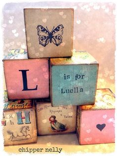 Vintage Nursery Blocks - Use Pinks-Lilacs-Soft Green and Yellow with Vintage Pictures