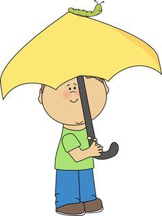 Boy with an umbrella and caterpillar.