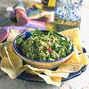 Guacamole, Recipe from Cooking.com.  Of course, if I'm making it, there are no onions....