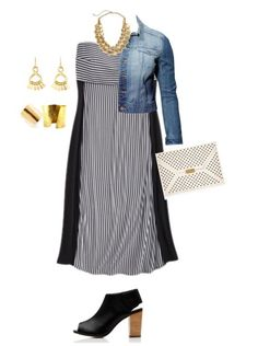 Here we see a black design covered with a jean vest and styled with wedge open-toe shoes and dark blue clutch. Description from refreshrose.blogspot.com. I searched for this on bing.com/images