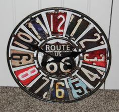 """LARGE 22""""ROUTE 66 METAL COLLAGE LICENSE PLATES WALL CLOCK SHOP GARAGE MAN CAVE"""