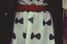 White Skate Dress With Bowknot Pattern