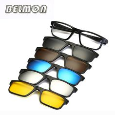 f9ab47e871 Buy online Fashion Optical Spectacle Frame Men Women Myopia With 5 Clip On Sunglasses  Polarized Magnetic Glasses For Male Eyeglasses