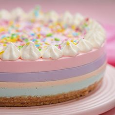 Kawaii Pastel Cake is part of Pastel cakes - Our Kawaii Pastel Cake might be our cutest cheesecake ever! The sweet pastel colours make this perfect for a birthday party or special dessert Cute Desserts, Delicious Desserts, Dessert Recipes, Yummy Food, Easter Recipes, Easter Desserts, Dinner Recipes, Birthday Desserts, Colorful Desserts