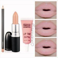 Nude lip! Mac - Stripdown lip liner, Mac - Myth lipstick, and OCC lip tar in Hush