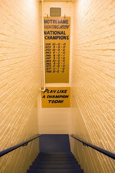 Play Like A Champion Today sign in the Notre Dame Football locker room