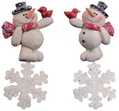 Blossom Bucket Snowman with Snowflakes and Birds Ornaments