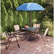 Mainstays Glenmeadow 6-Piece Folding Patio Dining Set with Umbrella . $159.99. 100-percent outdoor sling fabric Durable, powder-coated steel frames 6-piece patio set cleans easily with soap and water UV-rated fabric is fade resistant 6-piece patio set includes 4 chairs, a table, and a patio umbrella