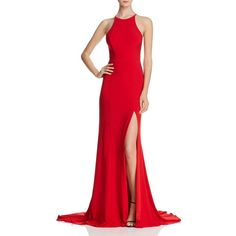 Faviana Couture Cutout Gown ($310) ❤ liked on Polyvore featuring dresses, gowns, red, red evening gowns, front slit dress, red gown, faviana dresses and cut out evening dress