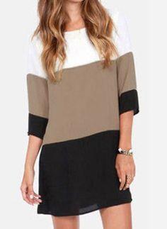 Stylish Scoop Neck 3/4 Sleeve Color Block Chiffon Dress For Women