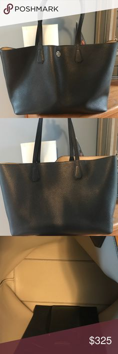 😍 EUC Tory Burch Perry Tote! 🚭 This bag is just gorgeous - classic, simple, elegant! Soft and supple leather! Fits SO much! I've carried this for a year and taken excellent care of it - the only signs of wear are on the bottom of the bag as pictured, which no one will see anyways! I also found a tiny tear I photographed, but you have to really look for it and I only noticed it when creating this posting since I thoroughly inspected. Easily fits a laptop, snacks, kindle, wallet, 2 Snapple…