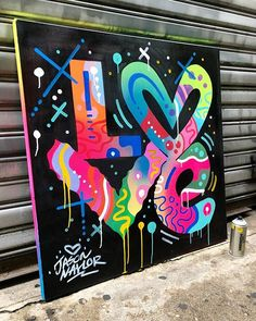 Love what you think. Love what you feel. and show it in your work! Completed painting from my live painting at yesterday for Painted with and mar Graffiti Wall Art, Graffiti Painting, Mural Wall Art, Street Art Graffiti, Collaborative Art, Arte Pop, Expo, Chalk Art, Doodle Art