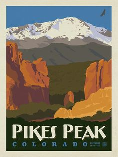 Pikes Peak, Colorado - Anderson Design Group has created an award-winning series of classic travel posters that celebrates the history and charm of America's greatest cities and national parks. This print features a majestic view of Pikes Peak. Printed on heavy gallery-grade matte finished paper, this print will add a classic sense of adventure to any home or office wall.