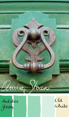 Annnie Sloan Chalk Paint Color Palette. Mixing variations of Antibes Green and Old White