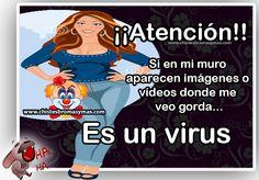 Si en mi muro aparecen imágenes o vídeos donde me veo gorda... Es un virus.