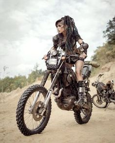 female motorcyclist / Mad Max / Road Warrior / women's post apocalyptic fashion / wasteland warrior