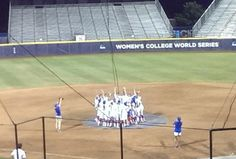 Empty stadium, @GatorZoneSBall singing 'We Are the Champions' ... Well earned. OKLAHOMA CITY -- Almost an hour after the Florida Gators collected the last out in the 2015 Women's College World Series, they were back on the pitchers mound as ASA Hall of Fame Stadium.  Every member of the team newly minted back-to-back national champions took turns taking pictures with each other and their championship trophy Wednesday.