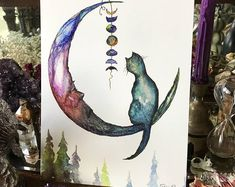 "Art Print 8-1/2x11"" from Original Painting Cat Victorian Crescent Moon Witch Witchcraft Halloween Gothic Folk Terri Foss"