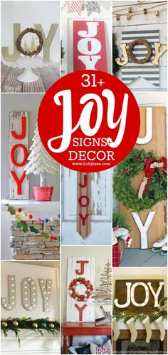 31+ JOY signs and decor ideas. Great ways to use JOY this Christmas season. DIY joy signs, so cute! Easy DIY Christmas decor ideas!