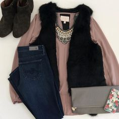 nude taupe blouse, dark skinny jeans, dressy black fur vest outfit, I would add nude heels to this outfit.