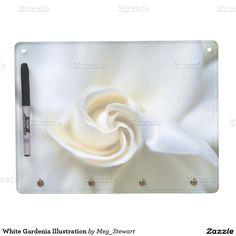 White Gardenia Illustration Dry-Erase Whiteboard