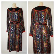 Vintage Dress-1970's Dress-Paisley Dress-The by WindingRoadVintage